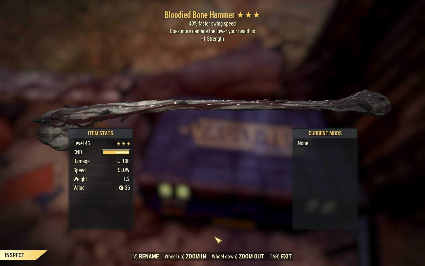 [PC] Bloodied Bone Hammer [40FSS | +1STR]