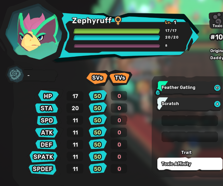 Zephyruff/Volarend - Toxic Affinity/Air Specialist - Perfect SV 7/7 - All Egg Move
