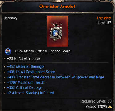 Best Amulet, 20 Attributes, 30% Critical Damage, 45% Material Damage, 40% Transfer Decrease, 40% Res