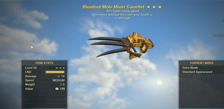 Bloodied 40% Faster swing Gauntlet [1 STRENGTH]