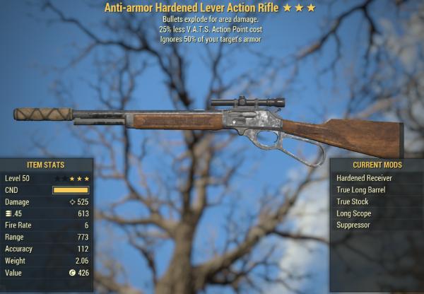 500 DAMAGE Anti-Armor Explosive Lever Action Rifle [25% Less VATS] [Glitch weapon]