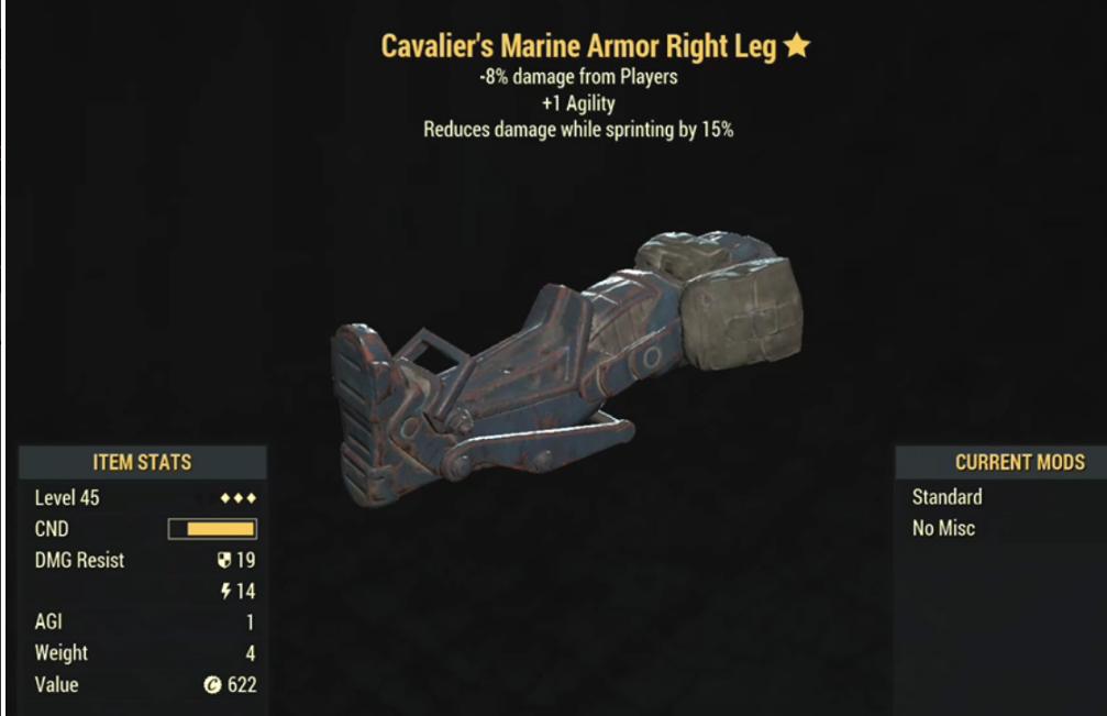Cavalier's Marine Armor Right Leg- Level 45 (-8% damage Form Players)
