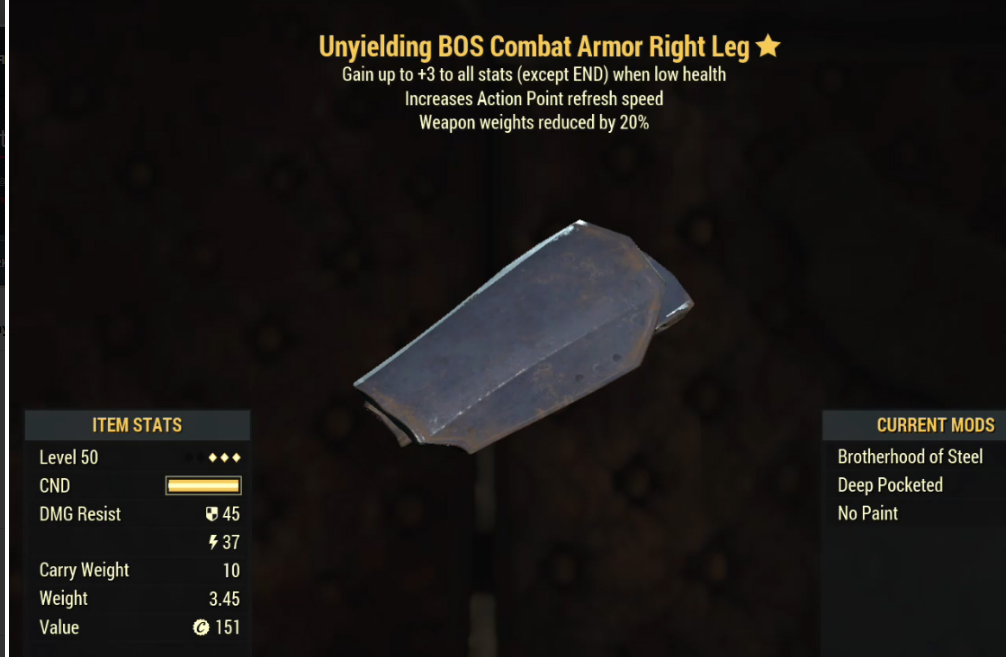 Unyielding BOS Combat Armor Right Leg- Level 50 (Weapons Weights Reduced by 20%)