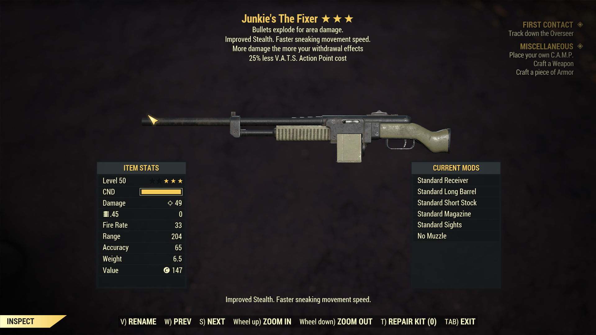 Junkie's Explosive The Fixer (25% Less VATS AP Cost)
