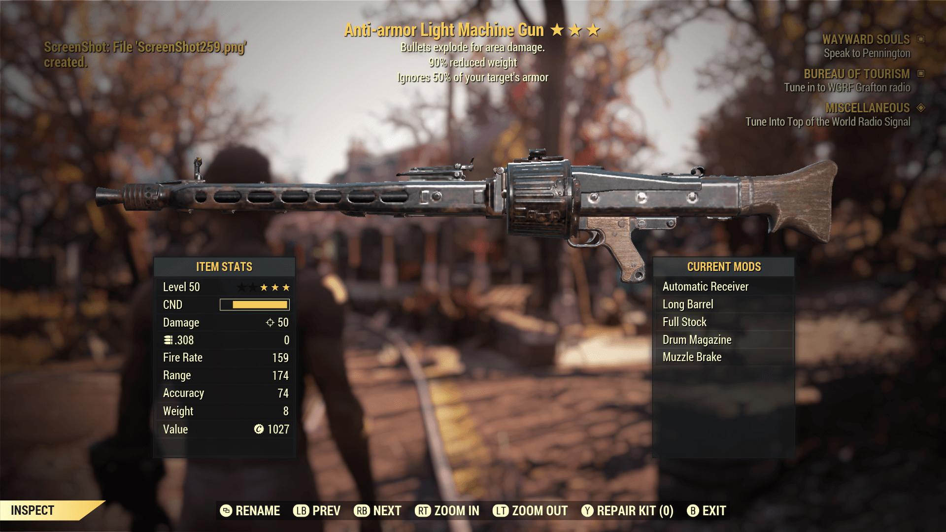 Anti-Armor Light Machine Gun[90% reduced weight+Ignores 50% of your target's armor]