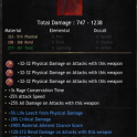 747-1238 Damage Battleaxe, 5% Life Leech, 28% Critical Damage, 290% Material Ailment, Rend & Toxic