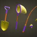 Golden Tool set - total 6items + Free 1M BELL(Axe+Fishing Rod+Net+Slingshot+Watering Can+Shovel)