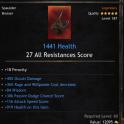 Mage Set Spaulder/Shoulder, 1441 Health, 45% Occult Damage, 36% Power Decrease, 84 Wisdom, 306 Passi