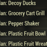 Plan: Decoy Ducks / Grocery Cart Grill / Pepper Shaker / Plastic Fruit Bowl / Plastic Fruit Wreath - image