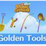 2*Golden Tool set ,total 12items(Axe+Fishing Rod+Net+Slingshot+Watering Can+Shovel) - image