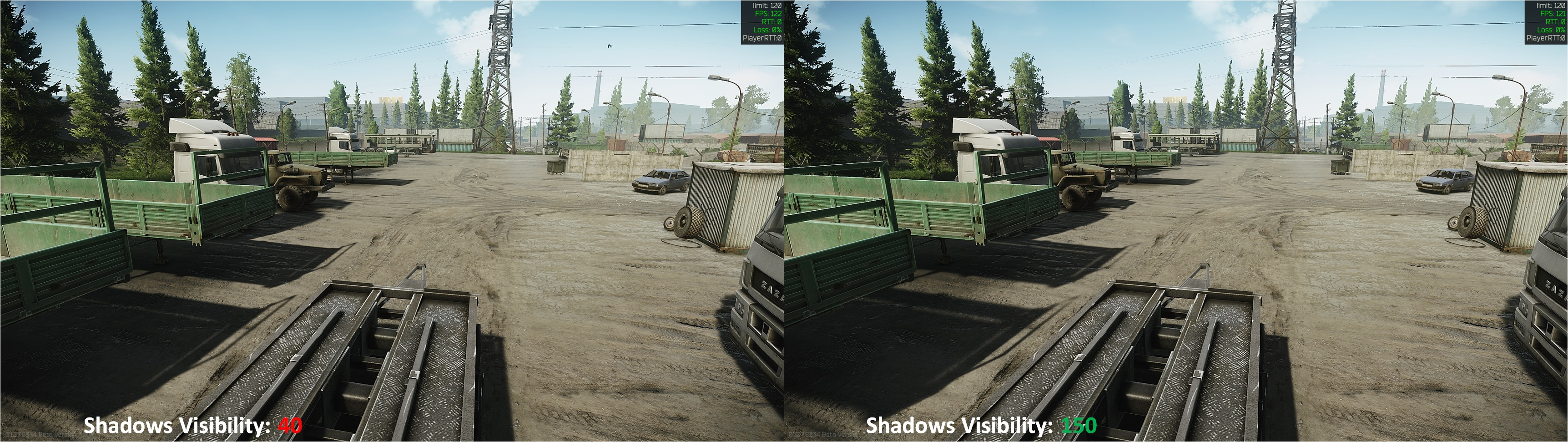 Tarkov Shadows Visibility Comparison