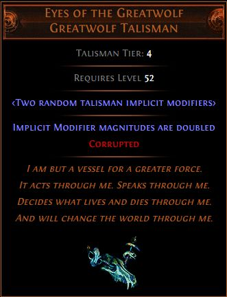 Eyes of the Greatwolf Talisman
