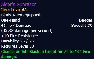 Alcor's Sunrazor stats