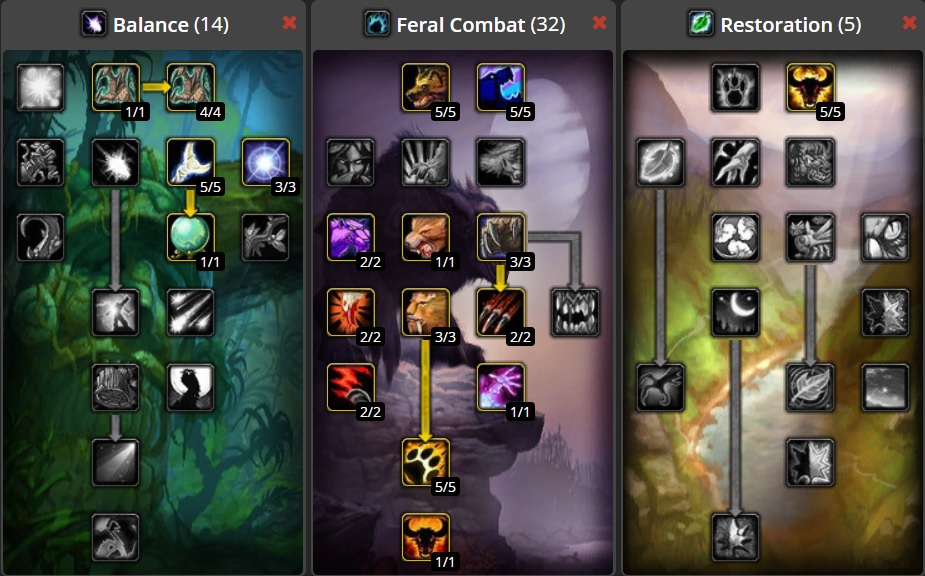 Talent allocation for DPS Feral Druid Build