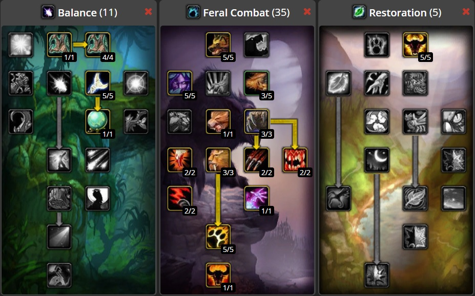 Talent allocation for DPS/Tank Hybrid Feral Druid Build